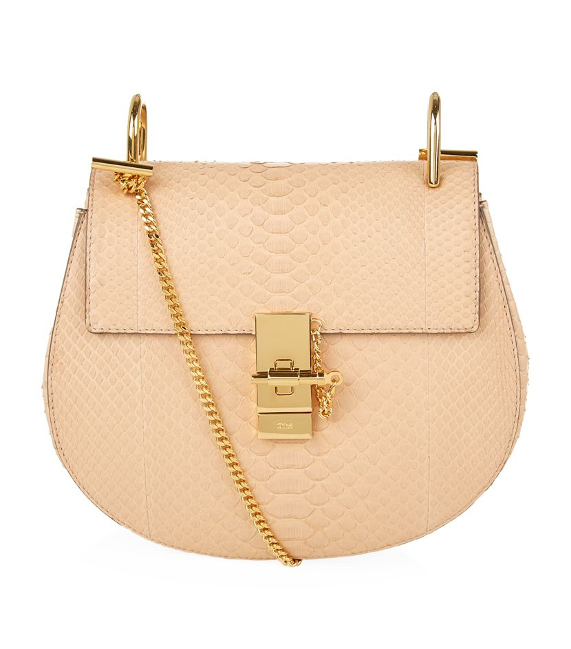 chloe purses prices - Chlo�� Drew Small Python Shoulder Bag in Beige | Lyst