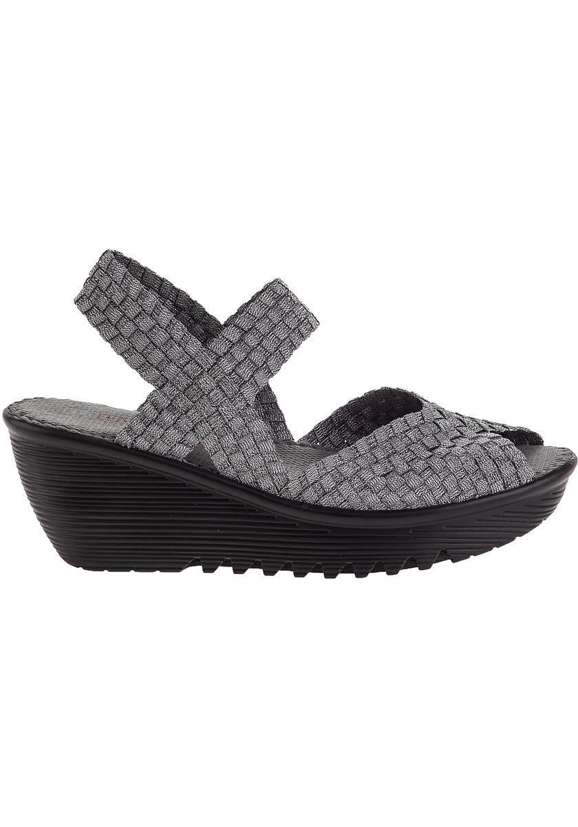 Bernie Mev Fame Wedge Sandal Pewter Fabric In Gray Lyst