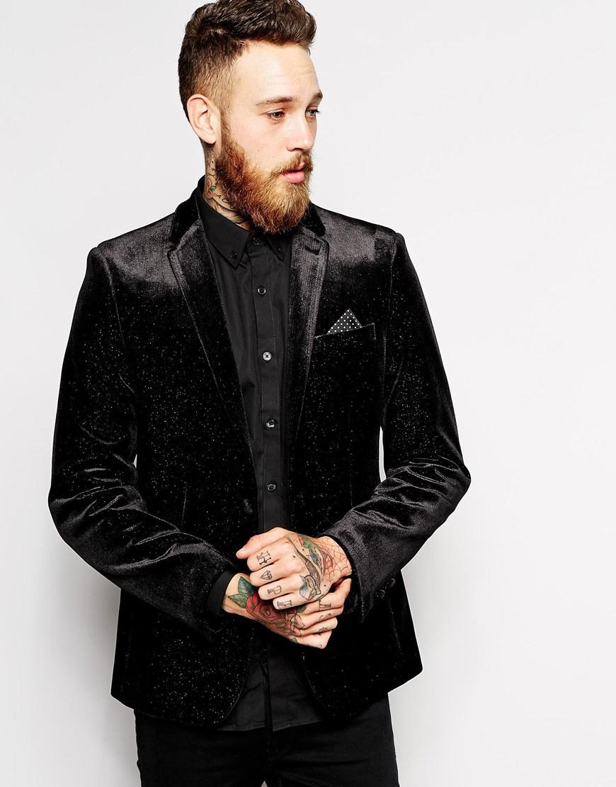 Lyst Asos Slim Fit Blazer In Glitter Velvet In Black For Men