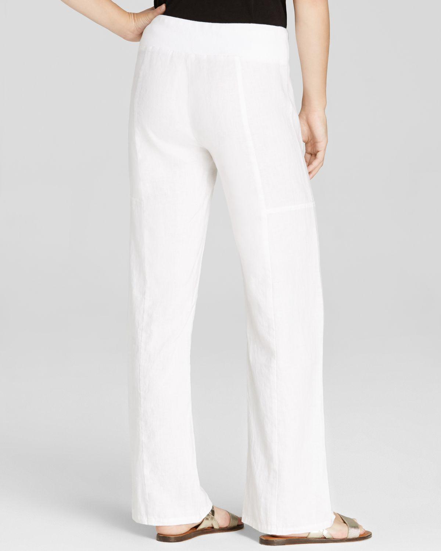 Eileen fisher Linen Drawstring Wide Leg Pants in White | Lyst