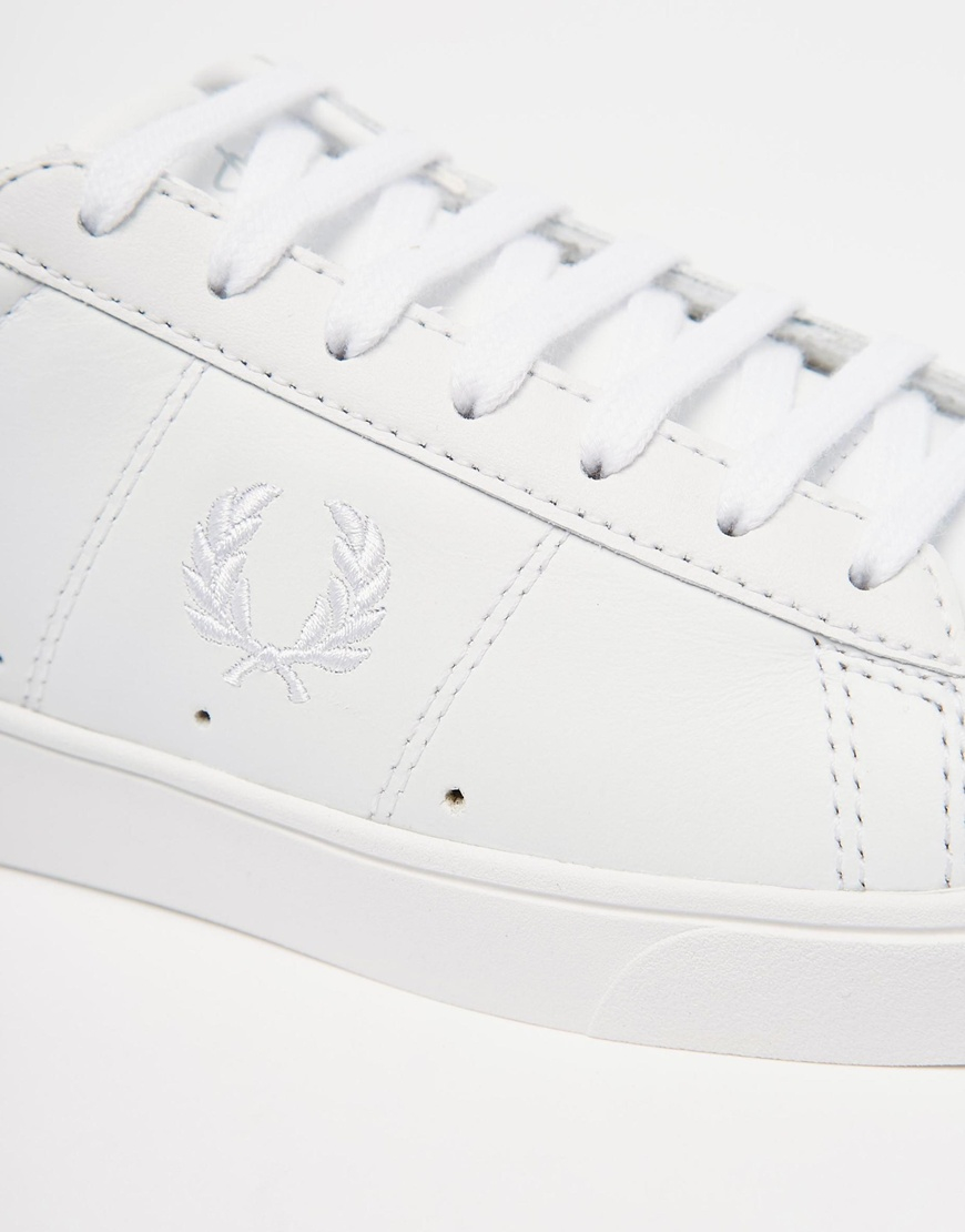 1dee0fe9333 Fred Perry White Spencer Leather Trainers in White - Lyst