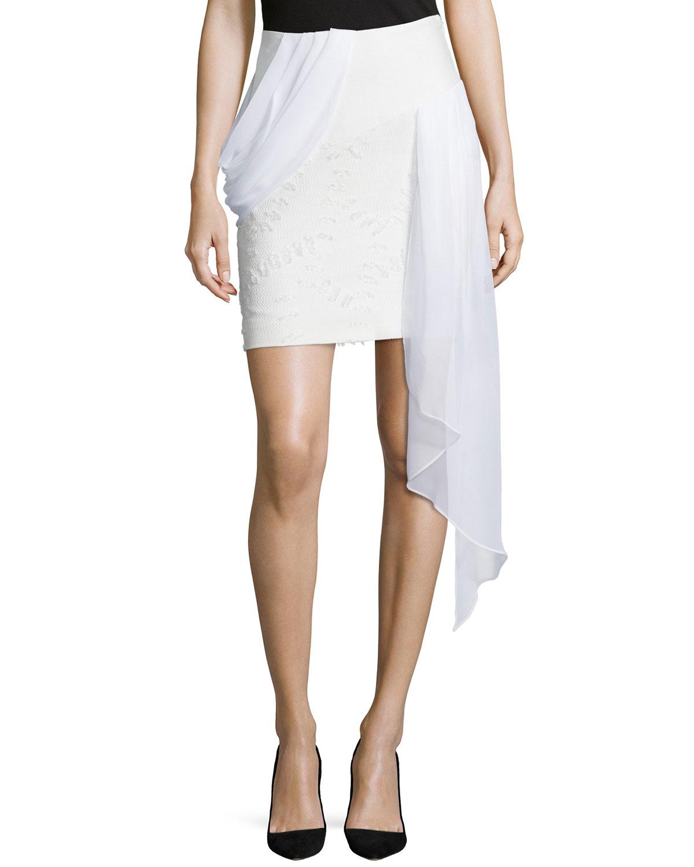 prabal gurung pencil skirt w draped ruffle in white lyst