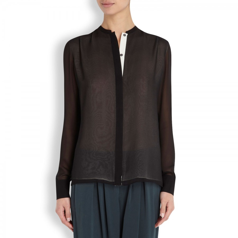 b7f14923670e4 Vince Layered Sheer Silk Chiffon Shirt in Black - Lyst