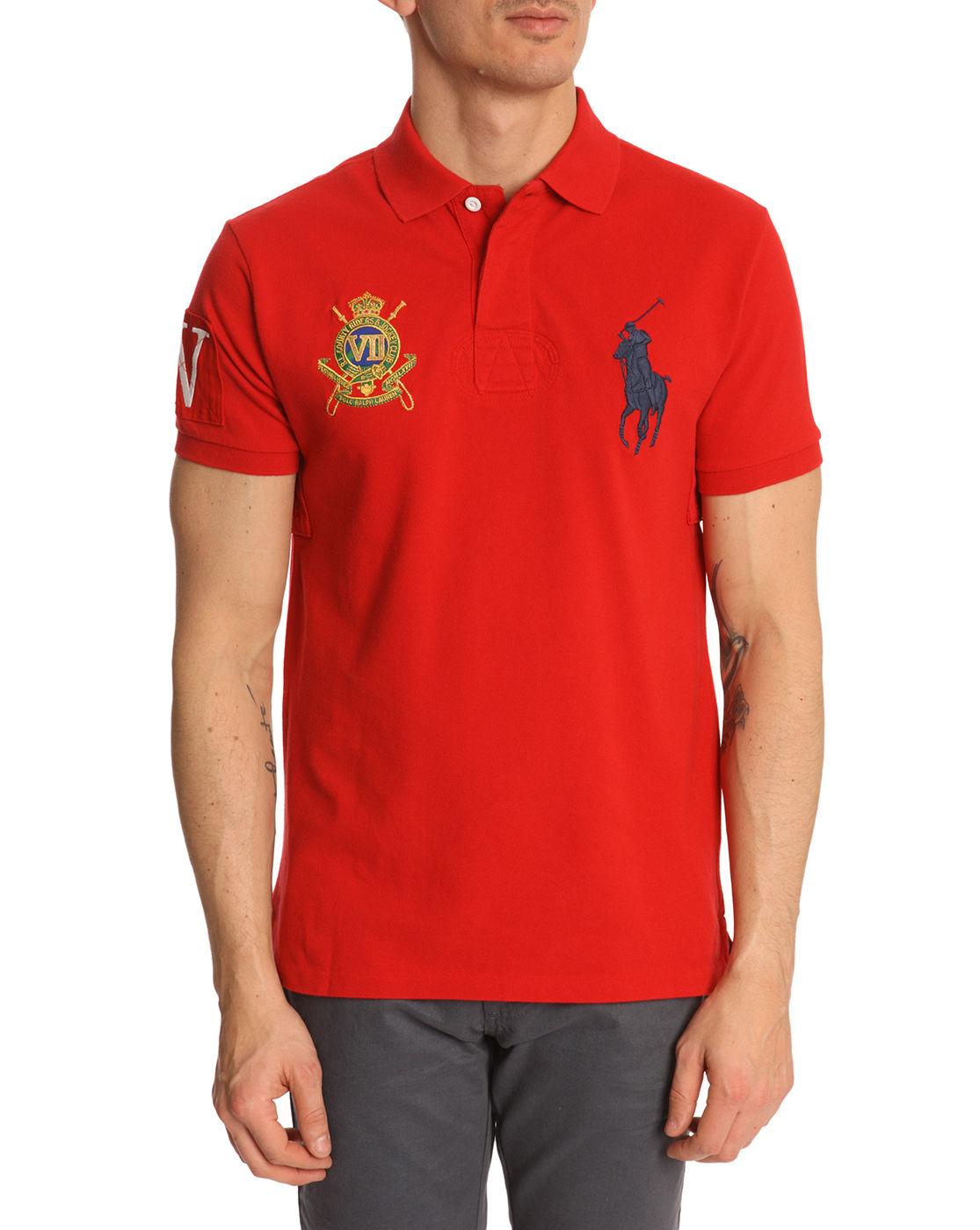 Polo ralph lauren jockey club red slimfit polo shirt in for Ralph lauren polo club shirts