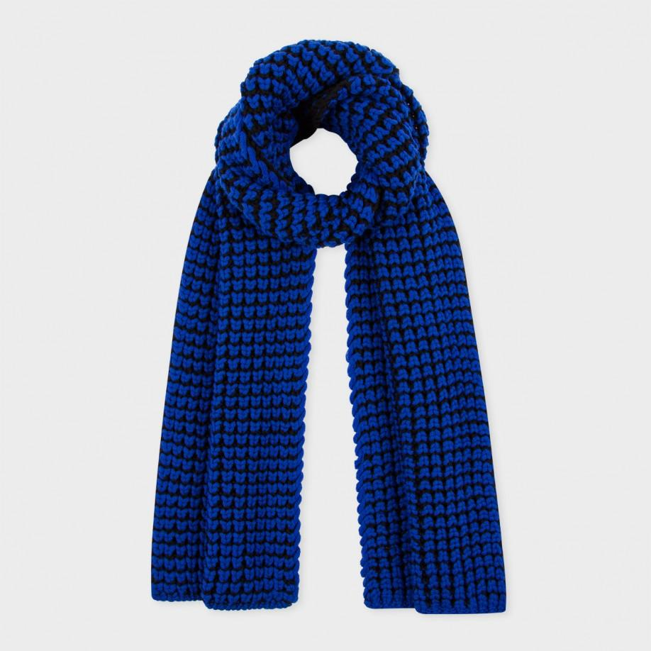 Paul smith Blue And Black Double-knit Wool Scarf in Blue | Lyst
