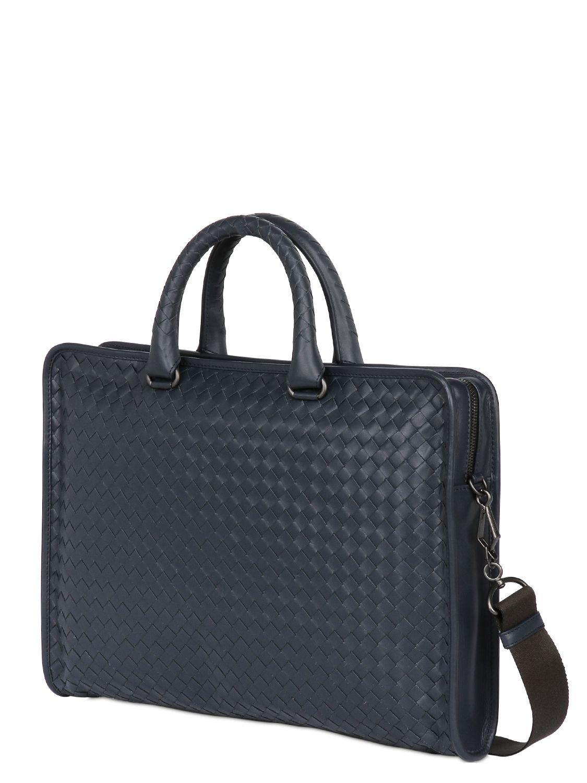 f7b1ca0bda18 Bottega Veneta Intrecciato Leather Computer Briefcase in Blue for ...