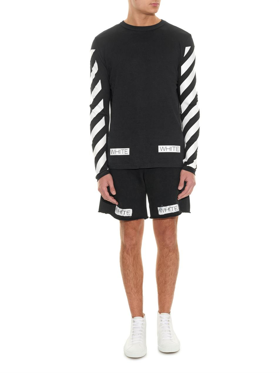 Off-white c/o virgil abloh Printed Cotton-Jersey Track Shorts in ...