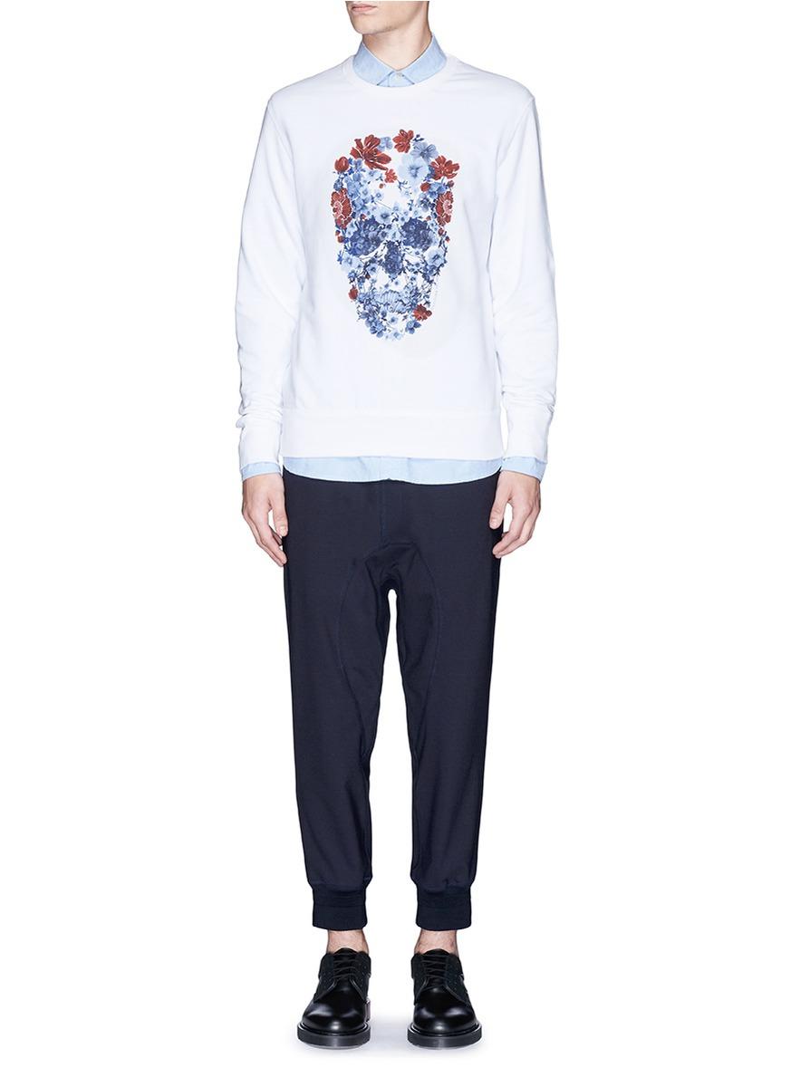 alexander mcqueen floral skull print sweatshirt in white for men lyst. Black Bedroom Furniture Sets. Home Design Ideas