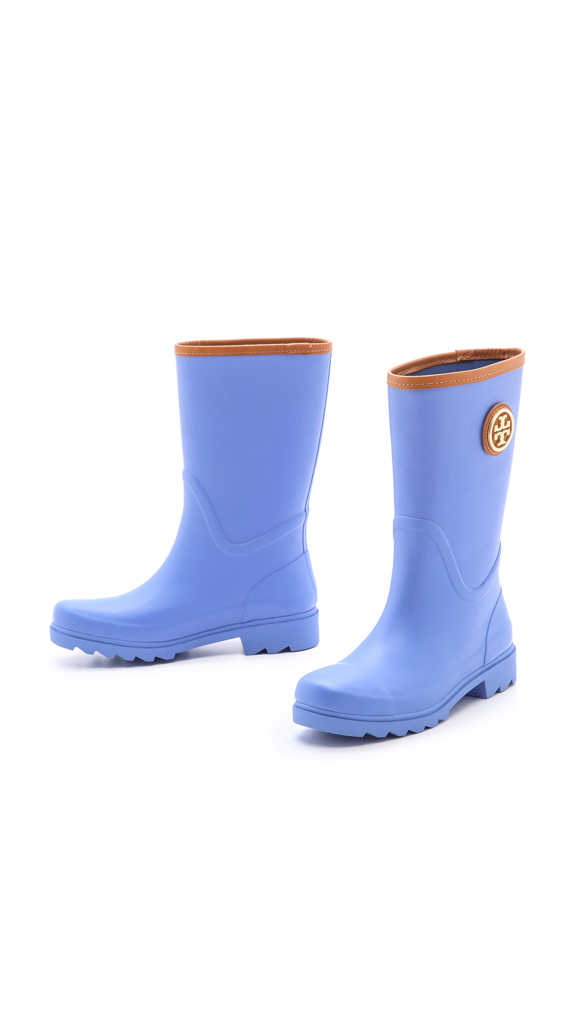 Tory Burch Maureen Rain Boots Poppy Redtan In Blue Lyst