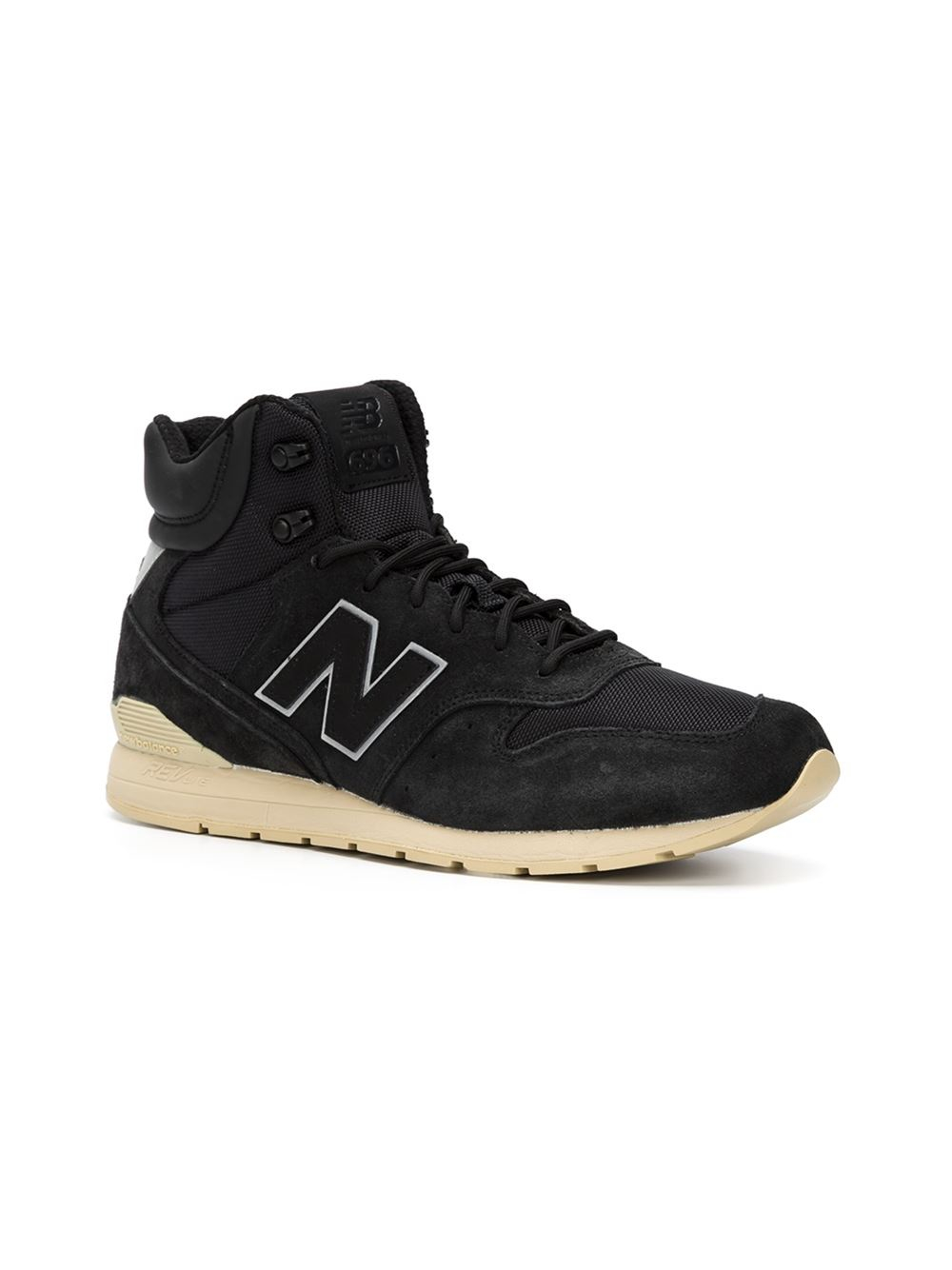 lyst new balance hi top sneakers in black. Black Bedroom Furniture Sets. Home Design Ideas