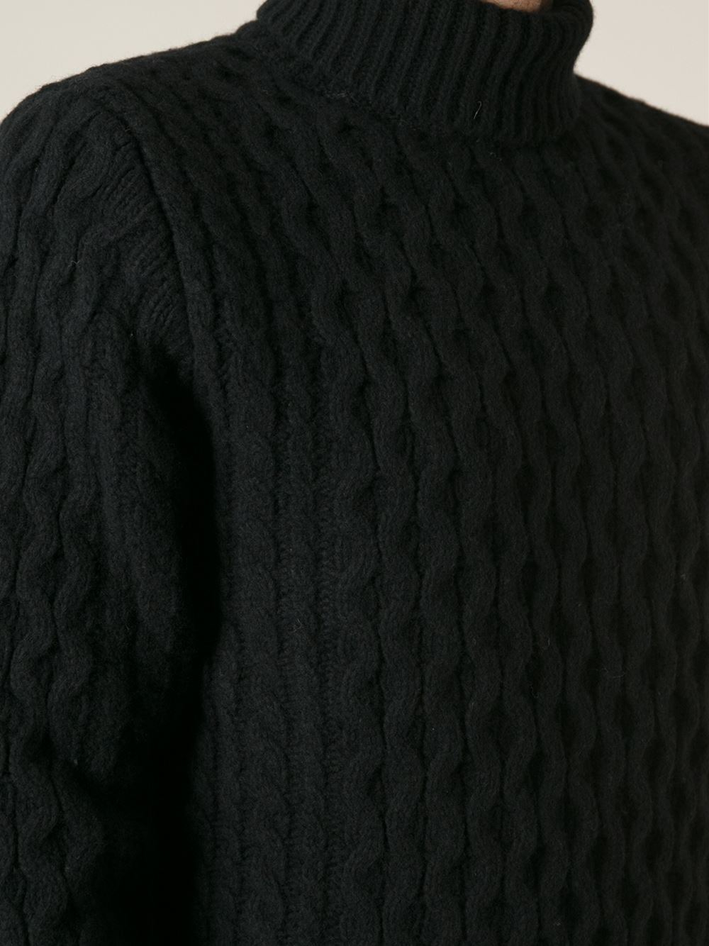 Diesel Cable Knit Turtleneck Sweater in Black for Men | Lyst