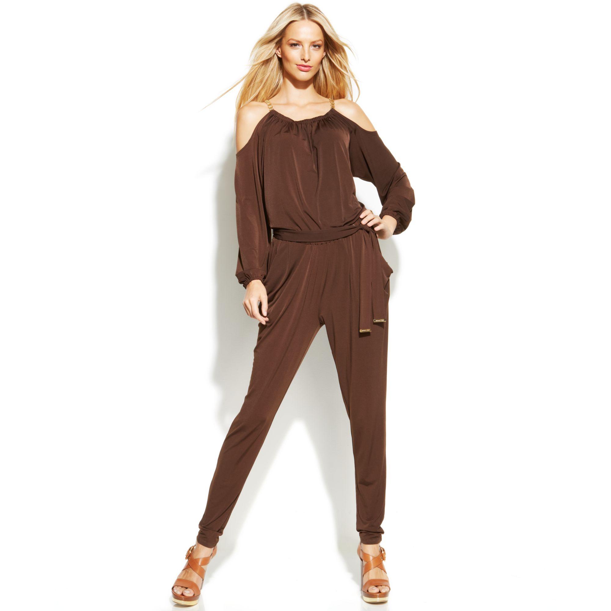michael kors michael coldshoulder chainstrap jumpsuit in brown lyst. Black Bedroom Furniture Sets. Home Design Ideas