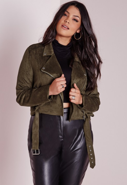 42719a64b98 Lyst - Missguided Plus Size Faux Suede Biker Jacket Khaki in Natural