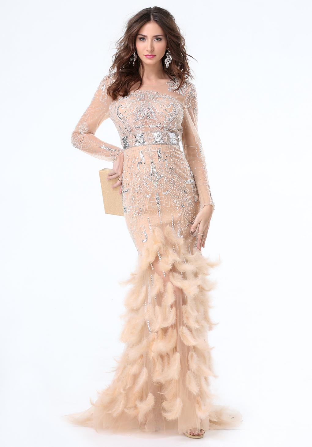 Lyst bebe jewel feather gown in natural gallery ombrellifo Choice Image