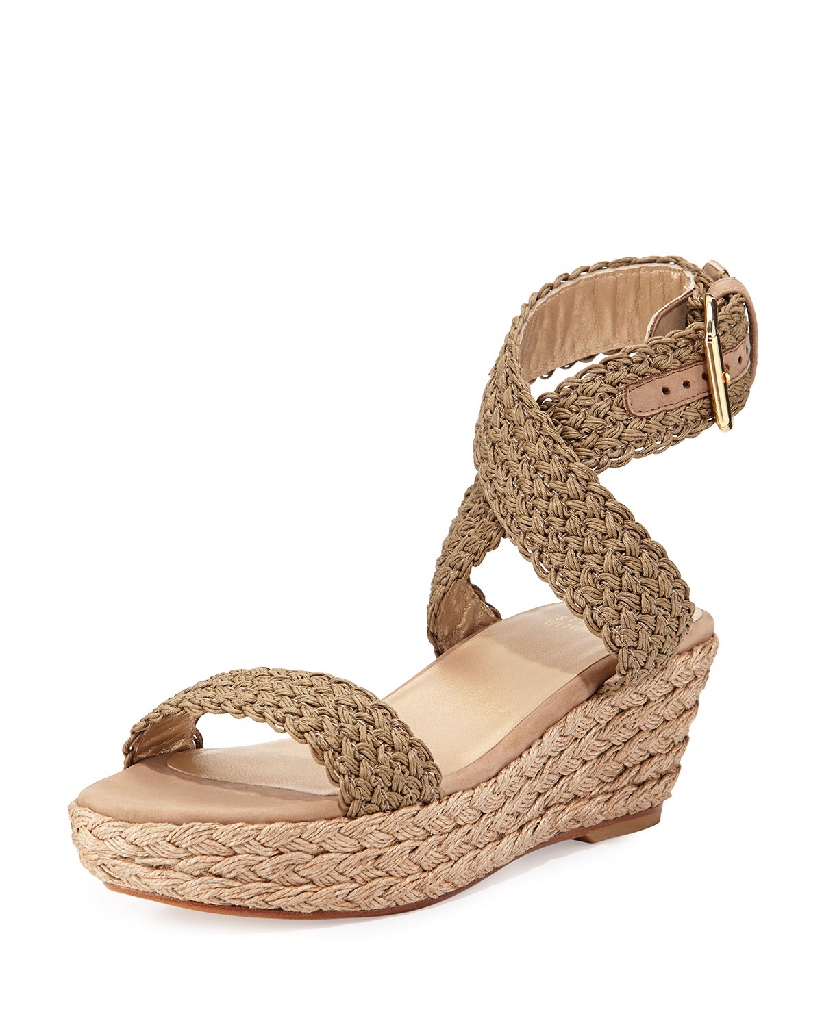 d30d6063f6e Lyst - Stuart Weitzman Alexlo Crochet Wedge Sandal in Natural