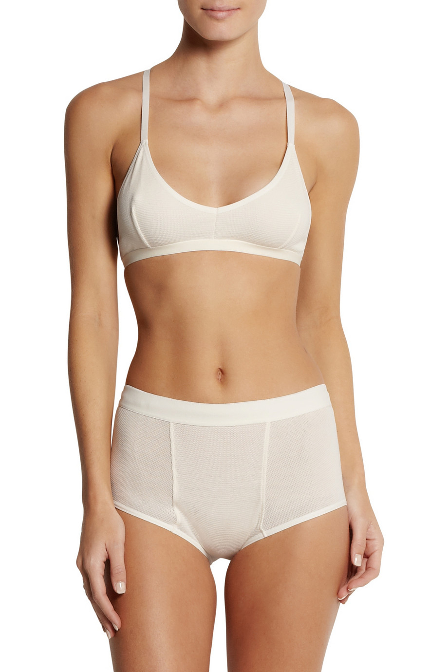 6dbe624a36 Lyst - Baserange High-Rise Waffle-Knit Cotton Briefs in White