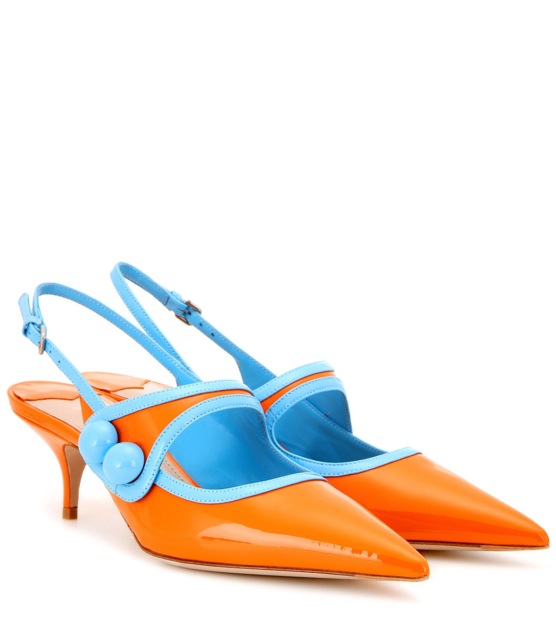 Miu miu Patent Leather Slingback Kitten-heel Pumps in Blue | Lyst