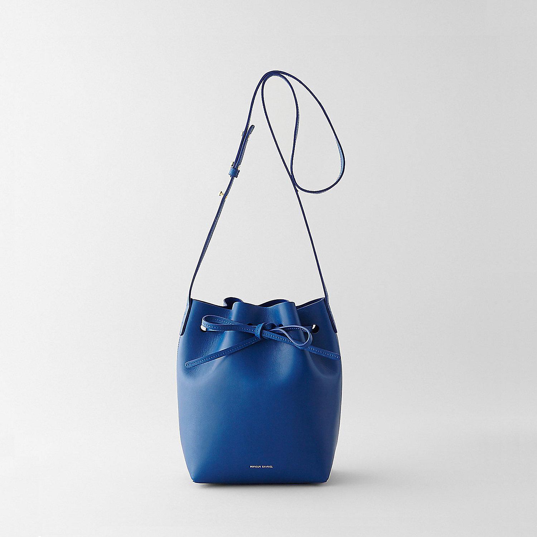 mansur gavriel mini bucket bag calf preorder in blue. Black Bedroom Furniture Sets. Home Design Ideas