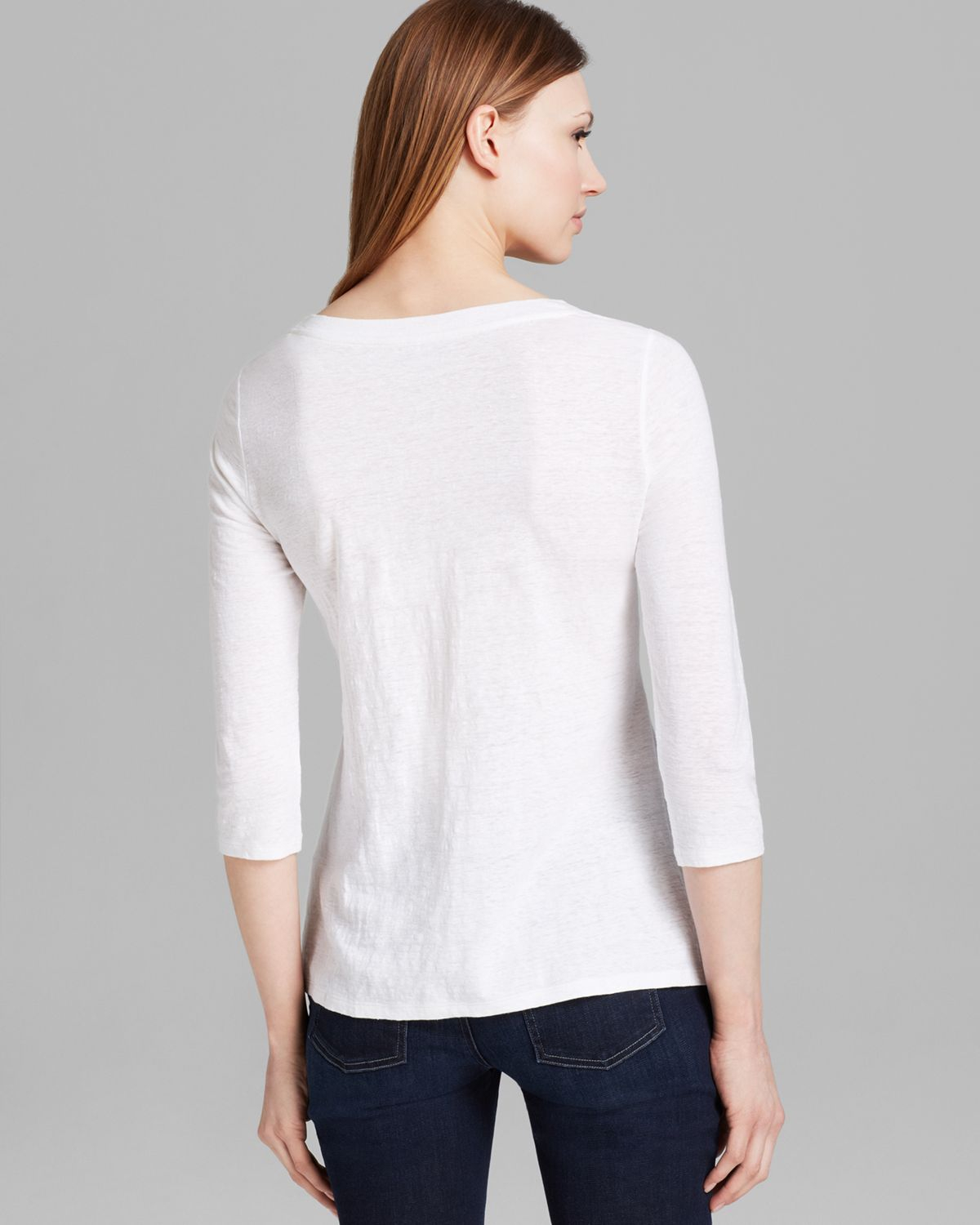 Eileen Fisher Scoop Neck Three Quarter Sleeve Top In White