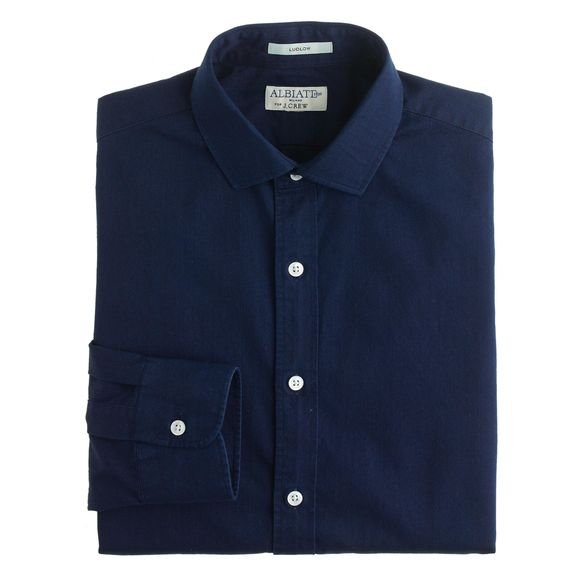 Albiate 1830 ludlow spread collar shirt in indigo for What is a spread collar shirt