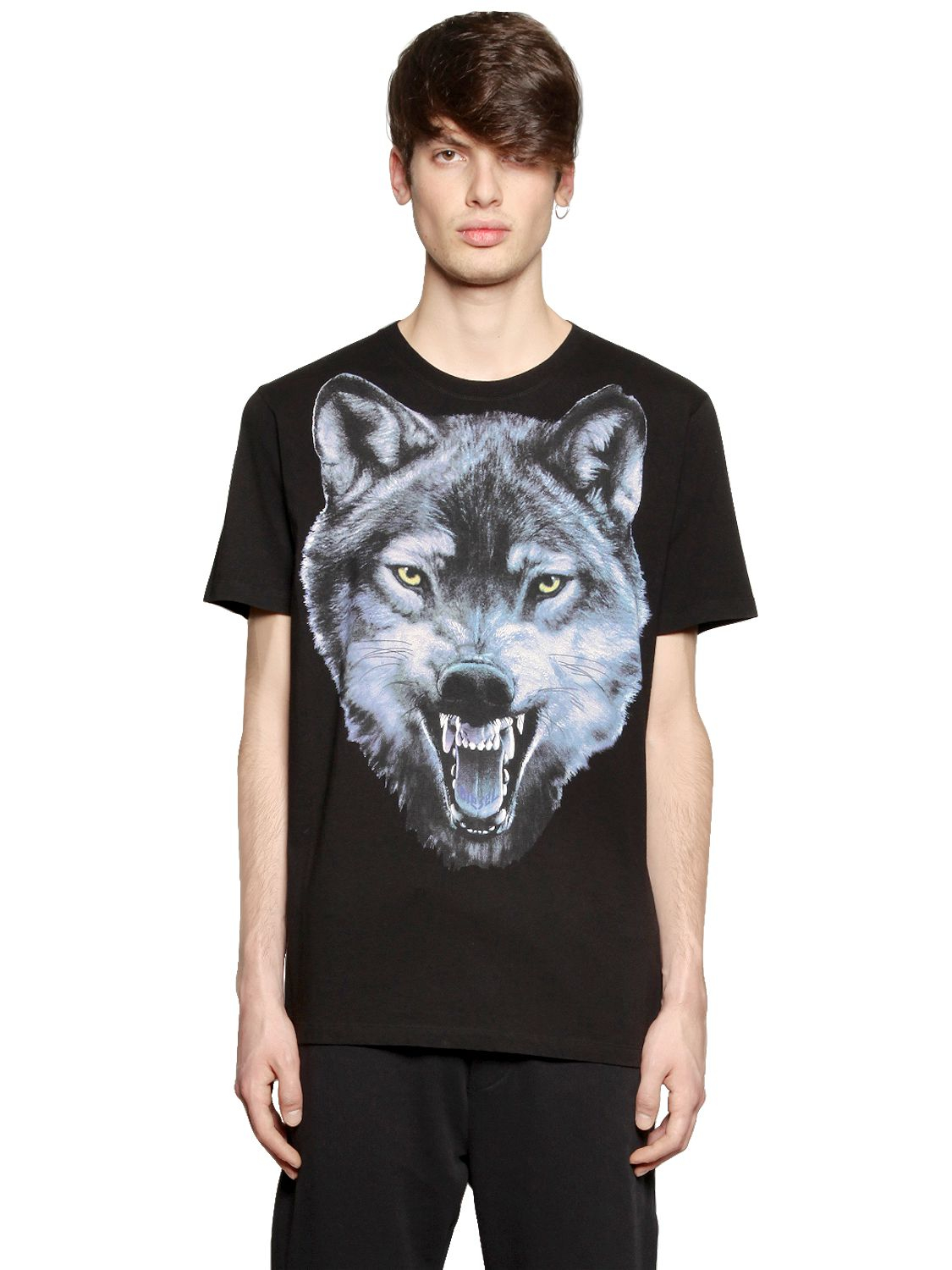 Diesel Wolf Printed Cotton Jersey T Shirt In Black For Men