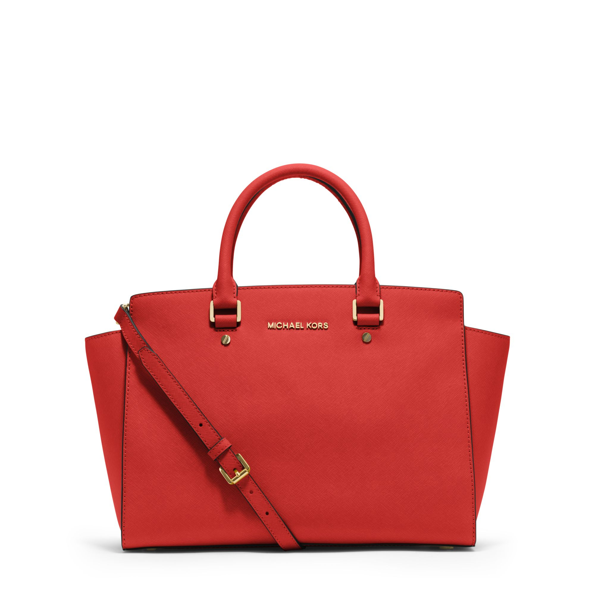 michael kors selma large saffiano leather satchel in red. Black Bedroom Furniture Sets. Home Design Ideas