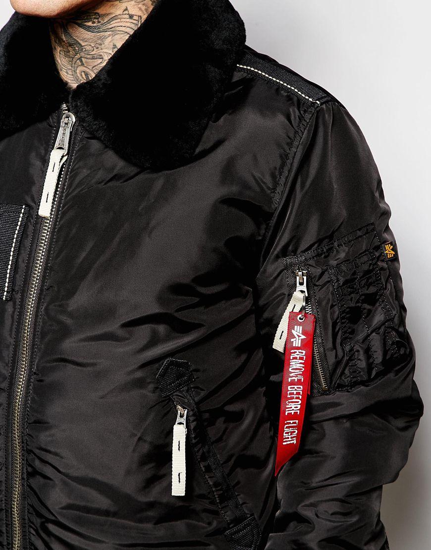 alpha industries faux fur trimmed bomber jacket in black for men lyst. Black Bedroom Furniture Sets. Home Design Ideas