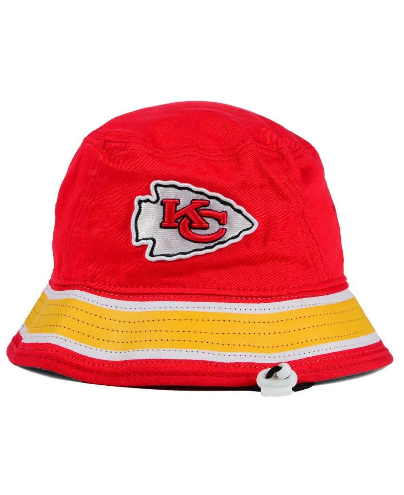 ktz kansas city chiefs team stripe bucket hat in red for
