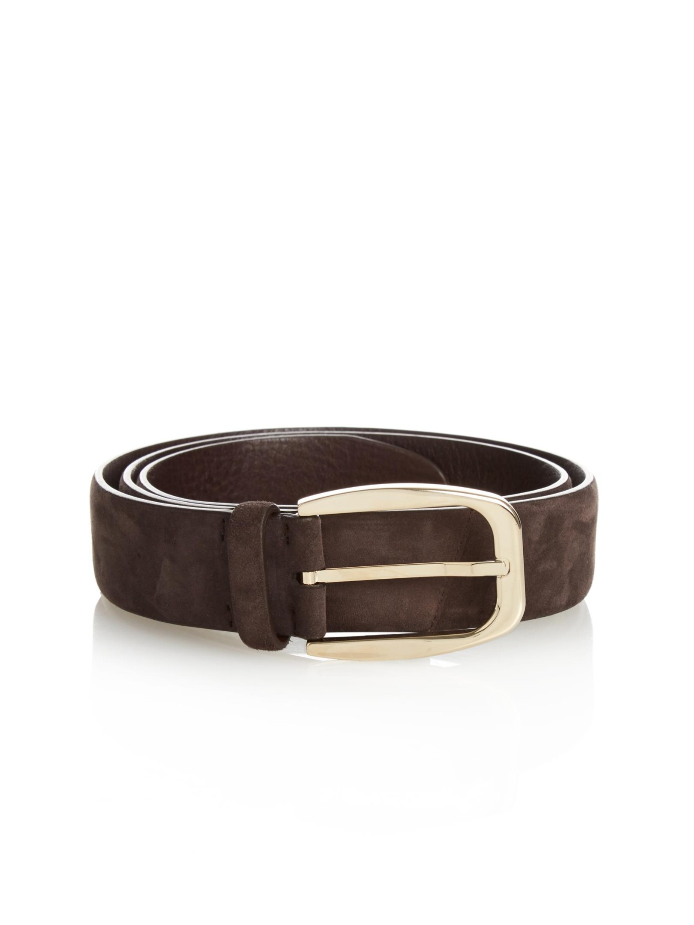 brioni perforated tip suede belt in brown for lyst