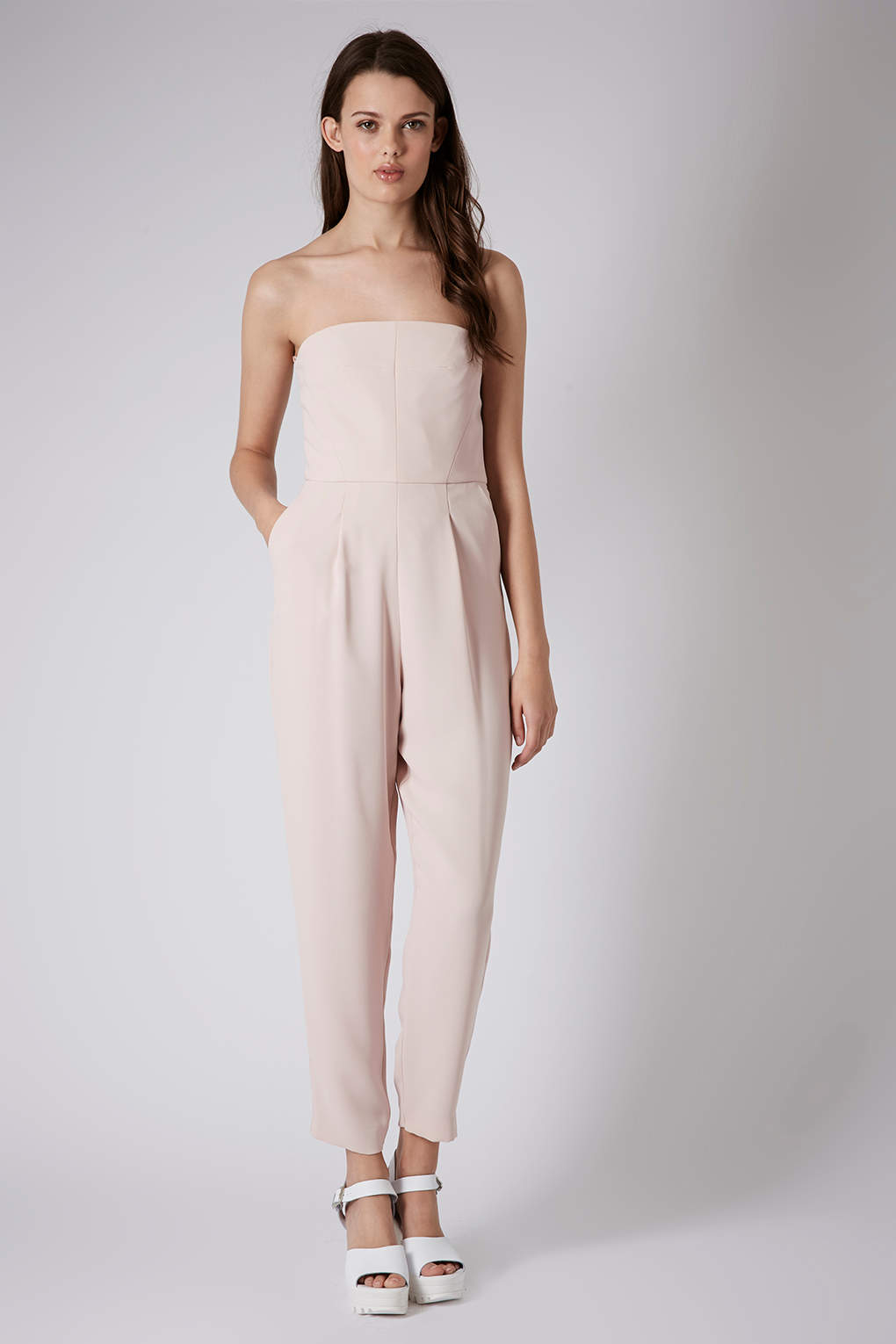 19d4ba32f13 Lyst - TOPSHOP Tailored Bandeau Jumpsuit in Pink