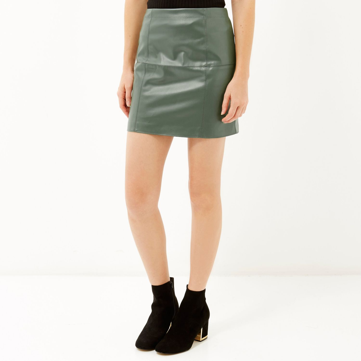 River island Light Green Leather-look Mini Skirt in Green | Lyst