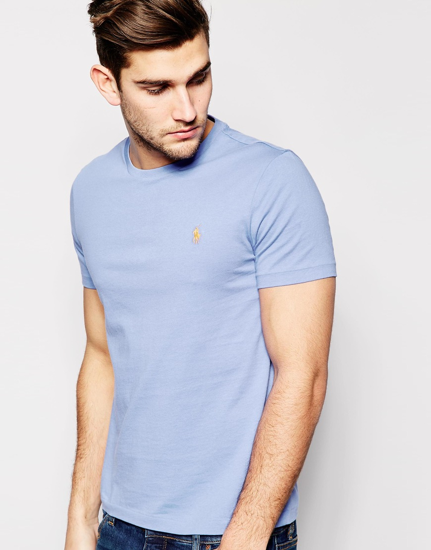 polo ralph lauren t shirt with polo player logo in blue. Black Bedroom Furniture Sets. Home Design Ideas