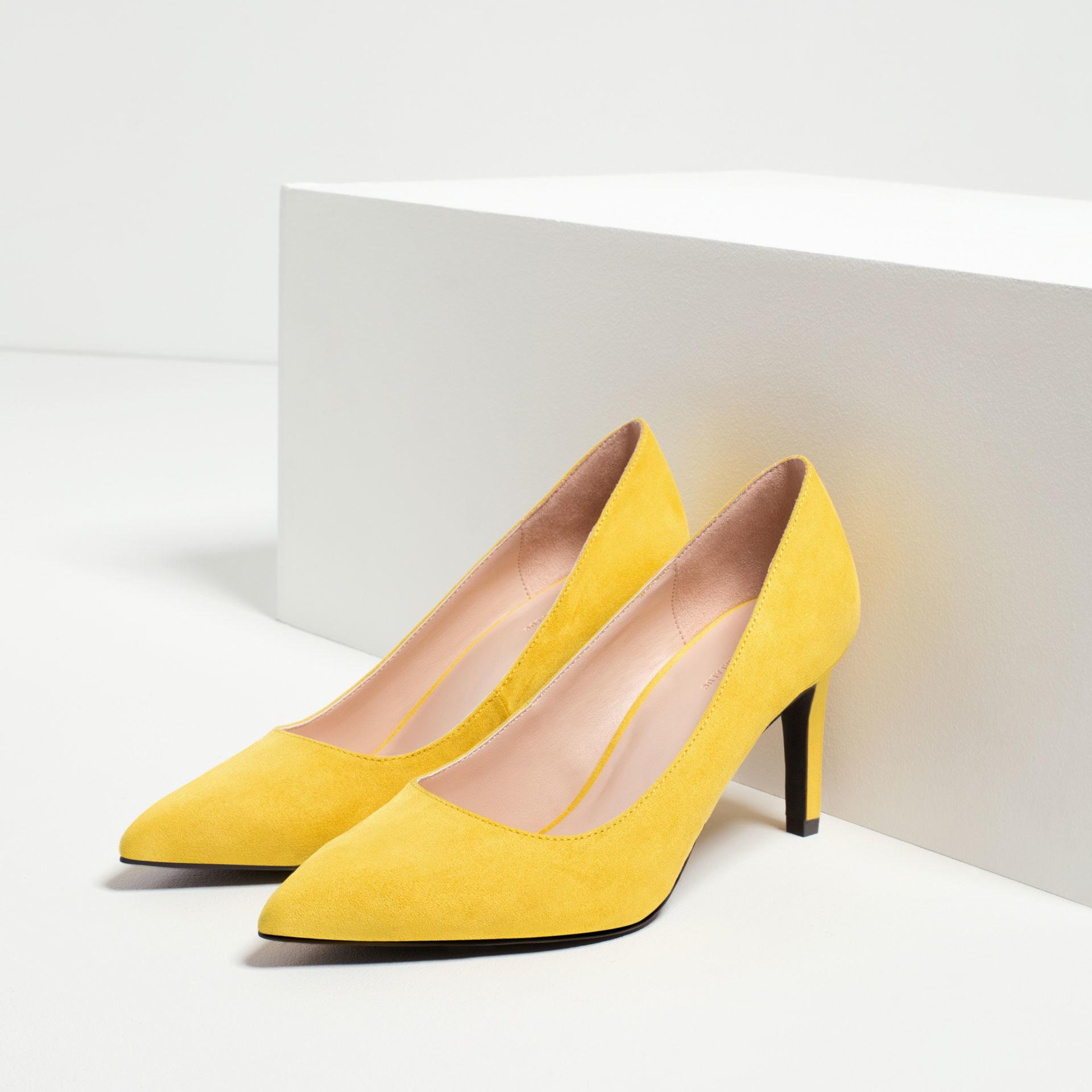 zara high heel shoes in yellow lyst