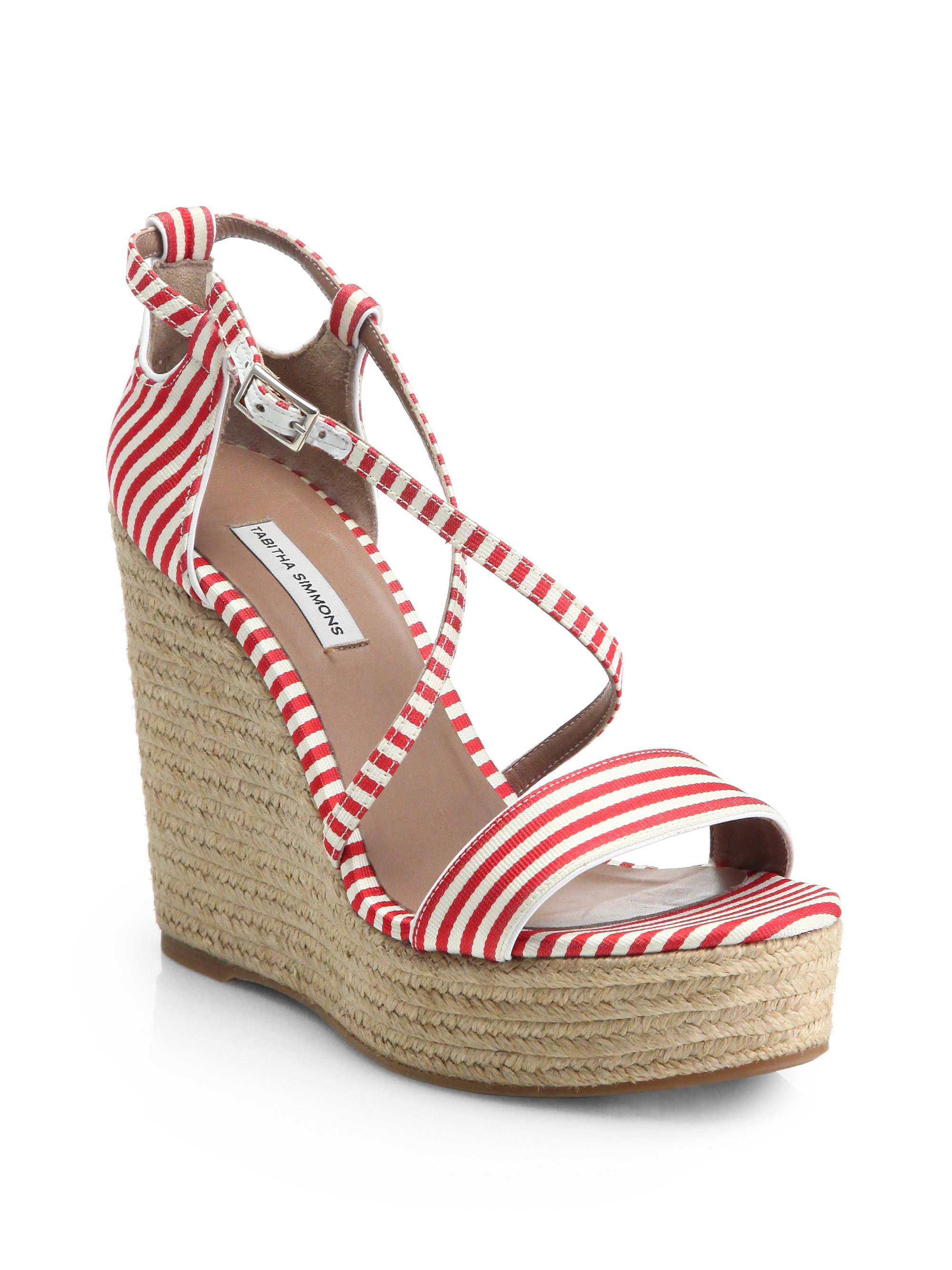 Lyst - Tabitha Simmons Jenny Striped Espadrille Wedge Sandals in Red