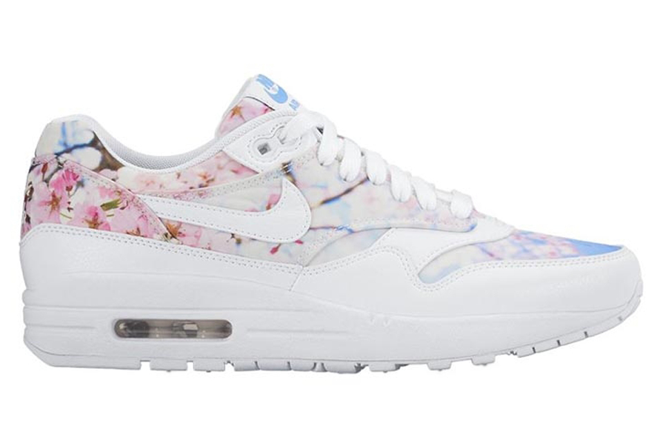 Lyst - Nike Air Max 1 Cherry Blossom Leather Low-Top Sneakers in White 7e9b7e543e1c