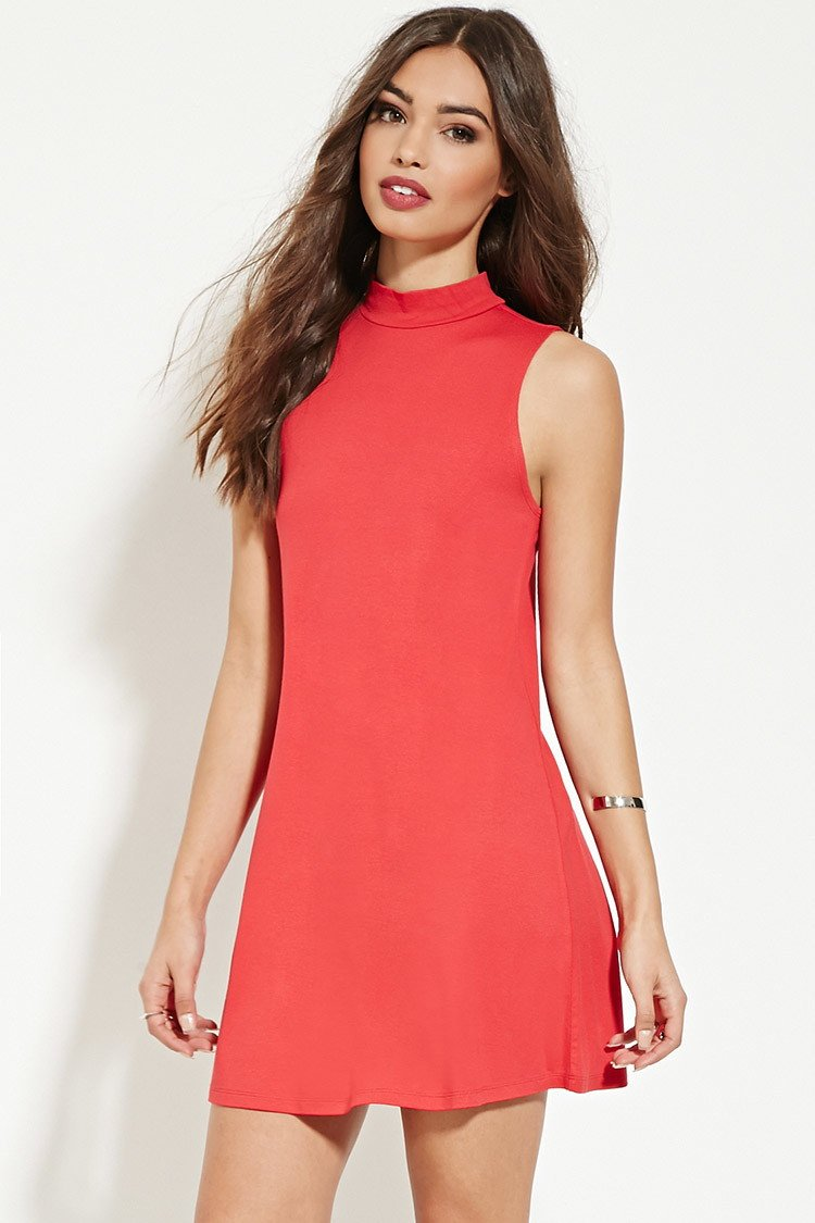 b8946bee7e Lyst - Forever 21 Mock-neck Shift Dress in Red