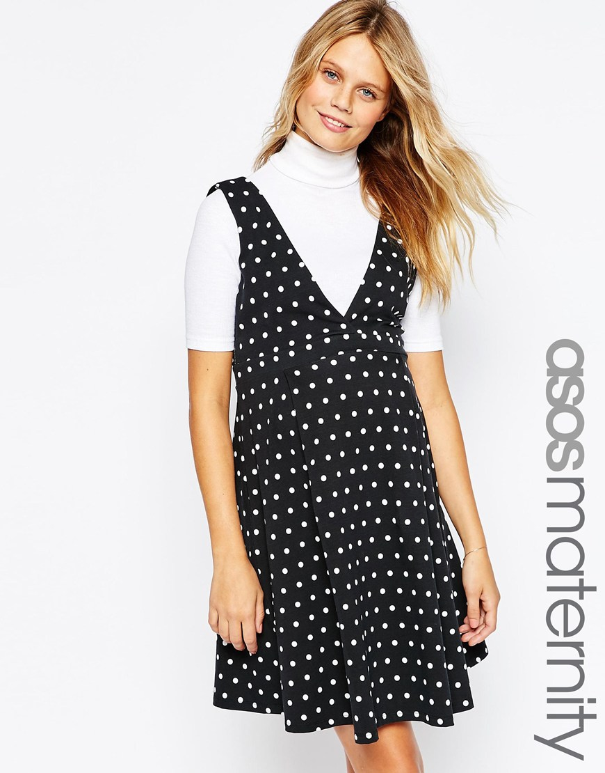 Asos polka dot pinafore dress in black lyst gallery ombrellifo Choice Image