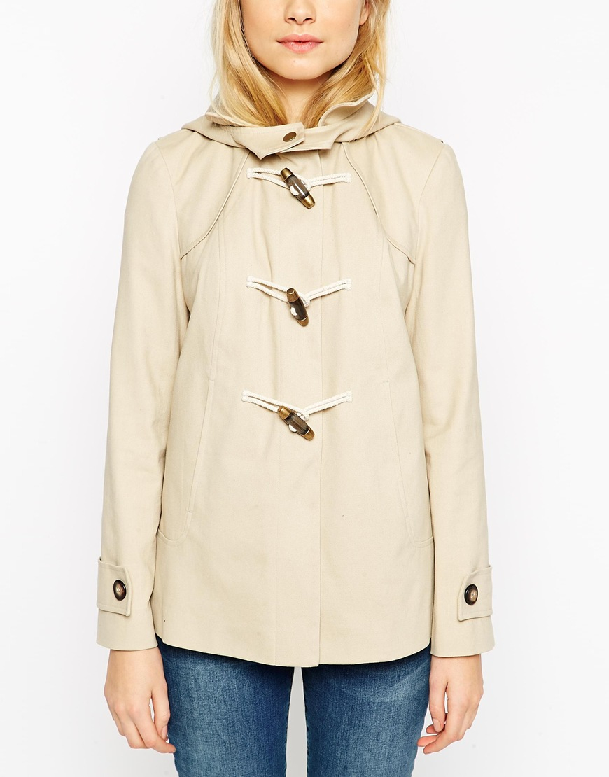 Asos Duffle Coat In Brushed Cotton in Natural | Lyst