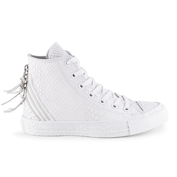 717bf874b82327 Converse Women S Chuck Taylor All Star Leather Tri-Zip Hi-Top Trainers-  White in White - Lyst