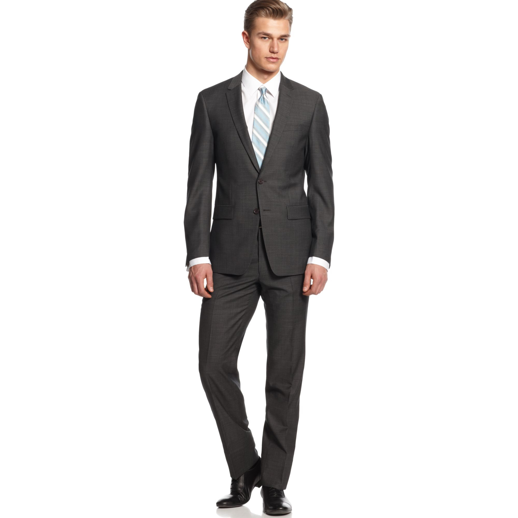 Dkny Suit Dark Grey Tic Extra Slim Fit in Gray for Men | Lyst