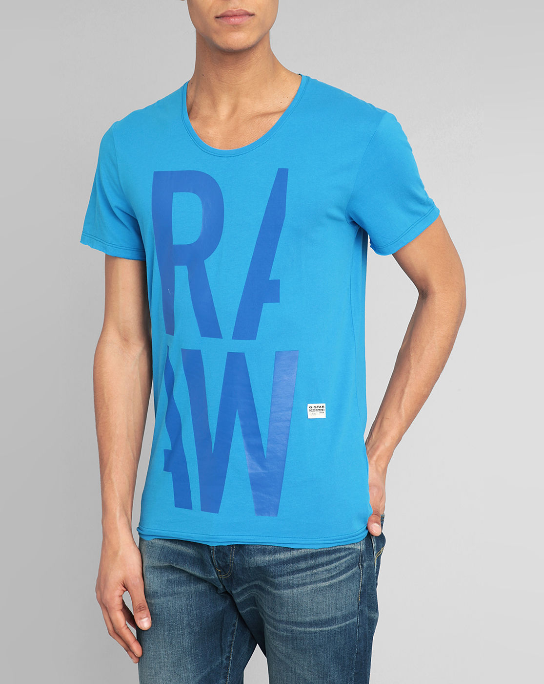 star raw blue persacker raw t shirt in blue for men lyst. Black Bedroom Furniture Sets. Home Design Ideas
