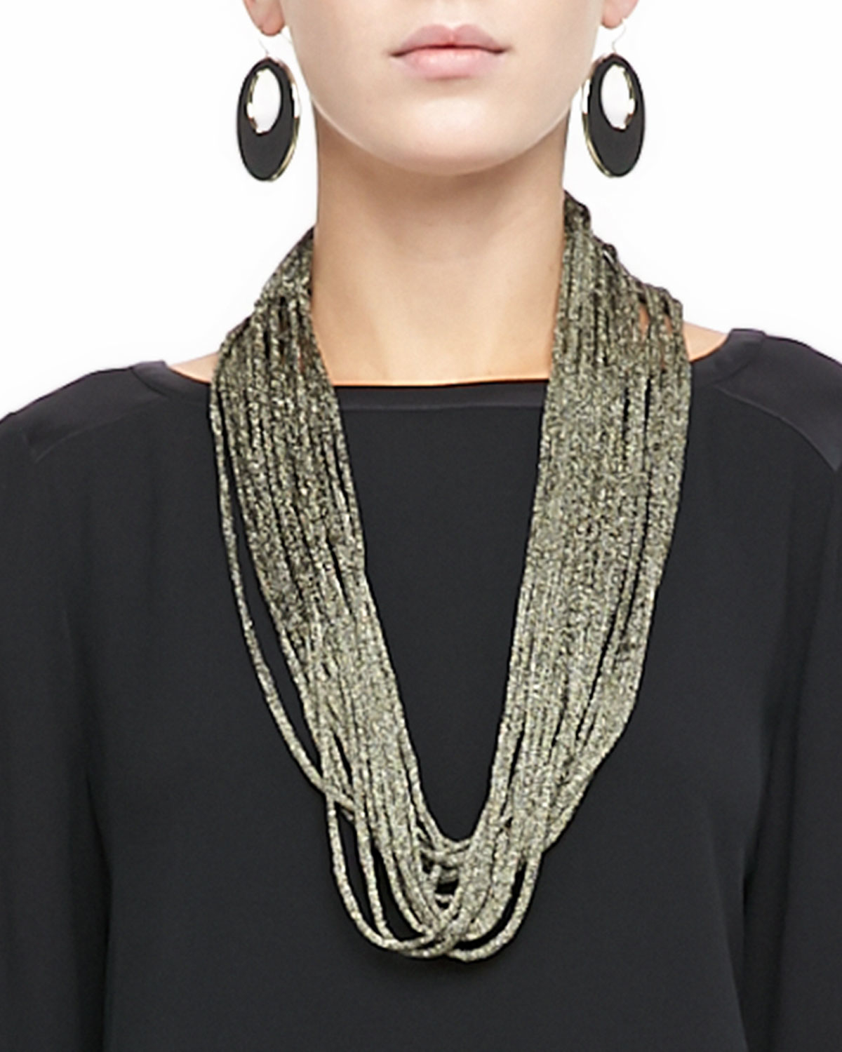 Italian Gold Chain >> Lyst - Eileen Fisher Sparkle Knit Scarf Necklace in Metallic