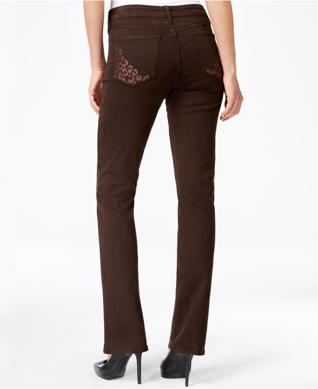 Nydj Petite Embellished-pocket Bootcut Jeans in Brown | Lyst