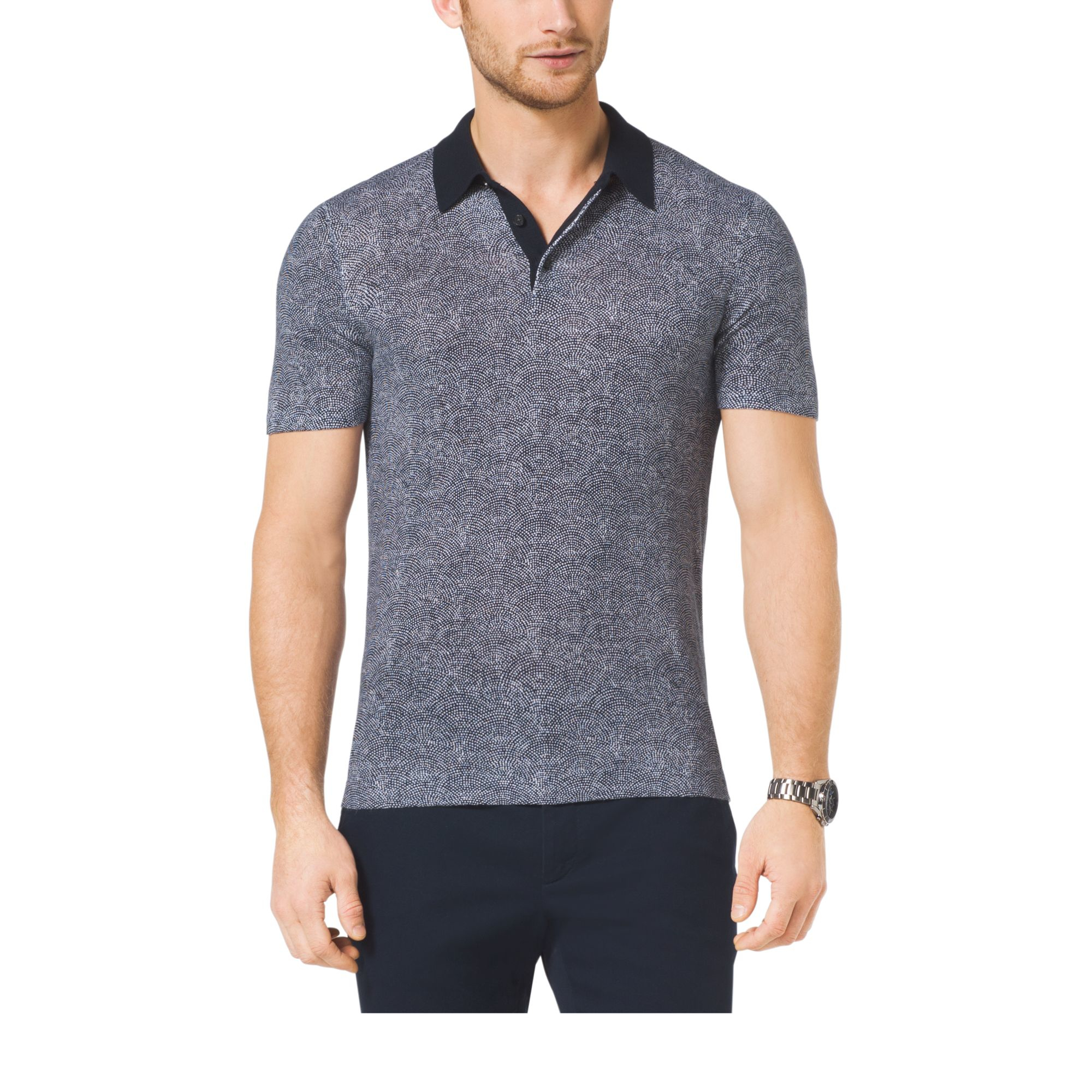 Michael Kors Linen And Cotton Polo Shirt In Gray For Men