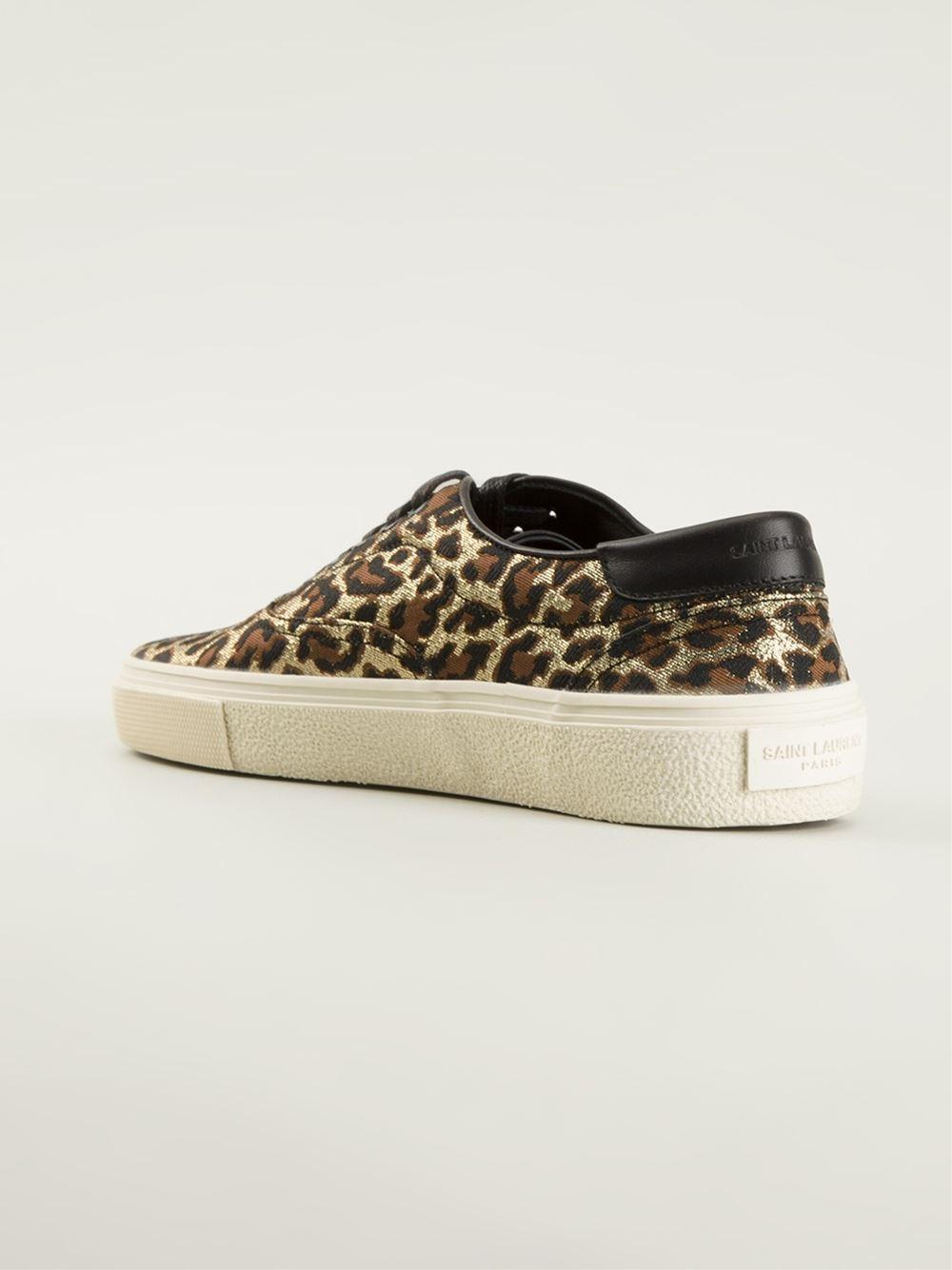 Lyst Saint Laurent Leopard Print Skate Sneakers In Brown