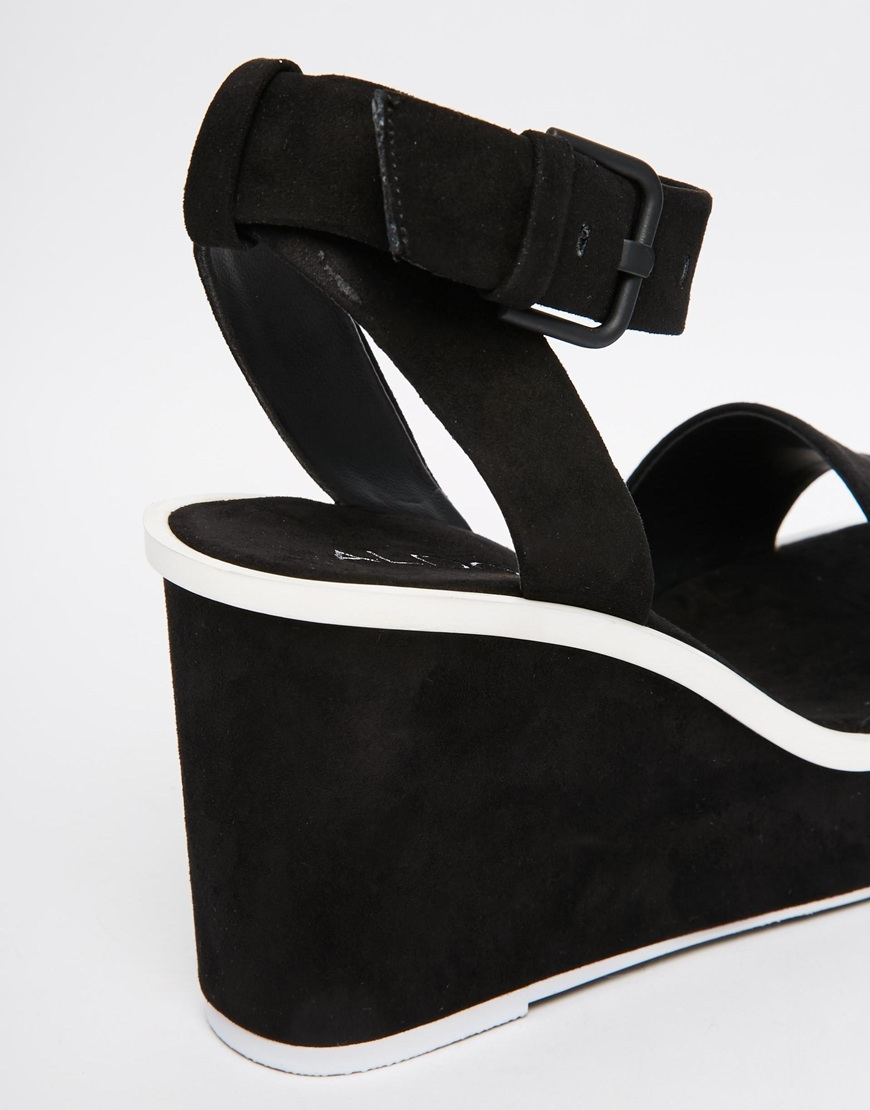 aldo ldo maygan black wedge sandals in black lyst