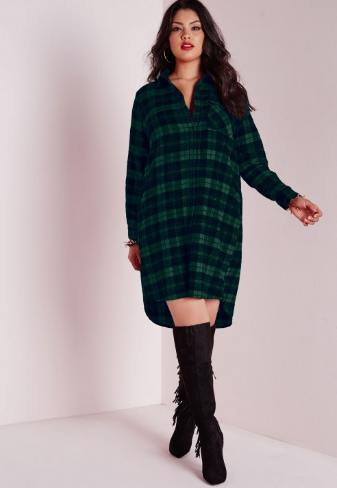 missguided plus size checked shirt dress green in green lyst. Black Bedroom Furniture Sets. Home Design Ideas