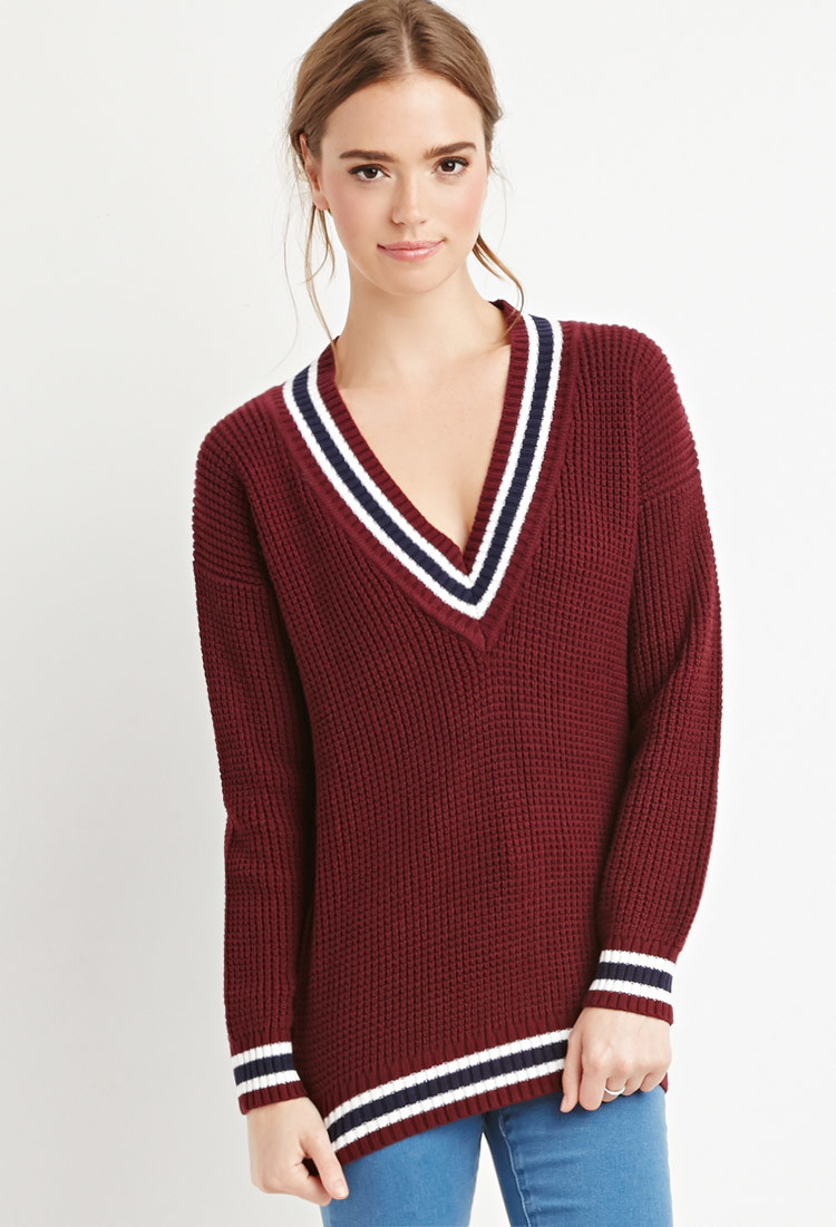 Forever 21 Varsity-striped Waffle Knit Sweater in Purple | Lyst
