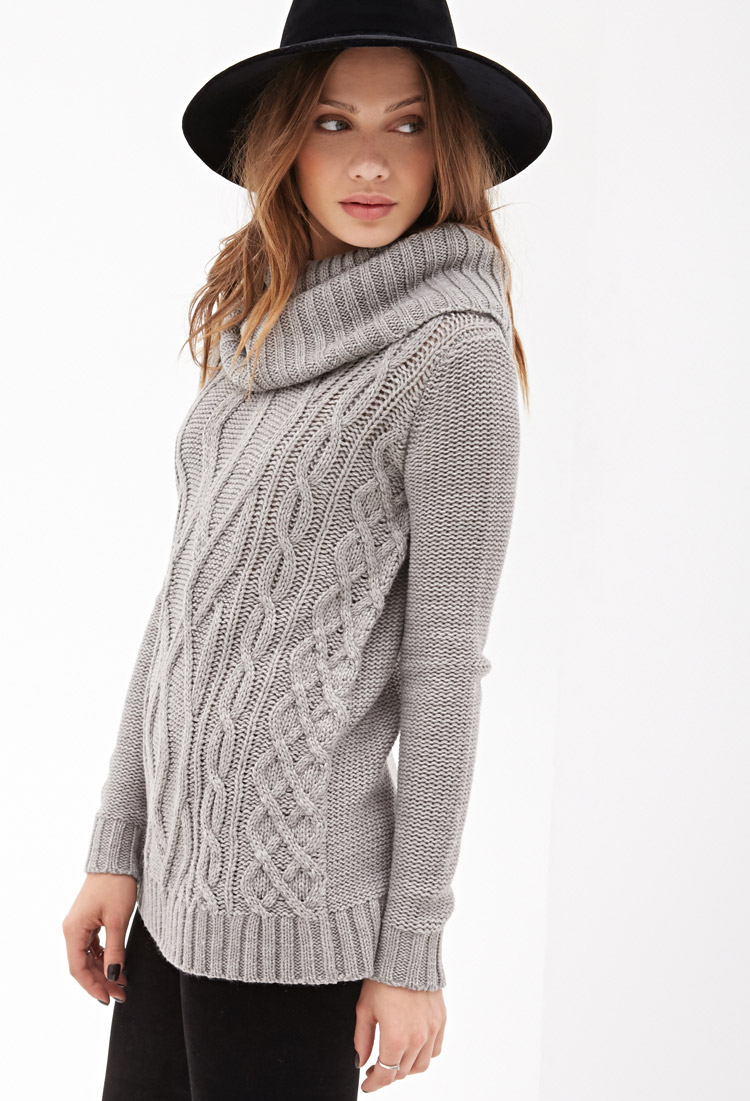 57338f177d3e1c Forever 21 Turtleneck Cable Knit Sweater in Gray - Lyst