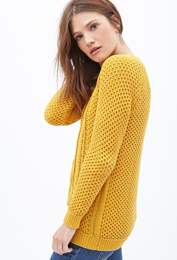 Forever 21 Cable Knit Fisherman Sweater in Yellow | Lyst